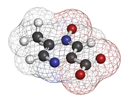 Acipimox hypertriglyceridemia drug molecule. 3D rendering. Atoms are represented as spheres with conventional color coding: hydrogen (white), carbon (grey), nitrogen (blue), oxygen (red). Stock Photo