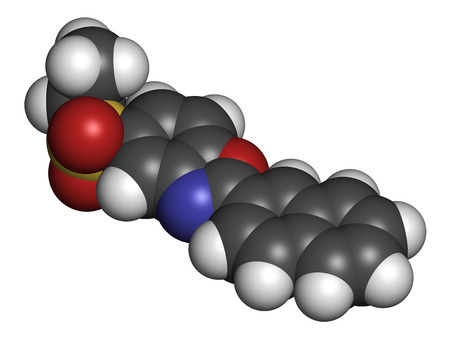 Ezutromid Duchene muscular dystrophy drug molecule. Activator of utrophin. 3D rendering. Atoms are represented as spheres with conventional color coding: hydrogen (white), carbon (grey), nitrogen (blue), oxygen (red), sulfur (yellow).