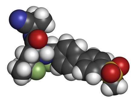 pharma: Odanacatib osteoporosis and bone metastasis drug molecule. Inhibitor of cathepsin K. 3D rendering. Atoms are represented as spheres with conventional color coding: hydrogen (white), carbon (grey), nitrogen (blue), oxygen (red), sulfur (yellow), fluorine (