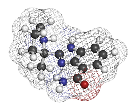 polymerase: Veliparib cancer drug molecule (PARP inhibitor). 3D rendering. Atoms are represented as spheres with conventional color coding: hydrogen (white), carbon (grey), nitrogen (blue), oxygen (red).