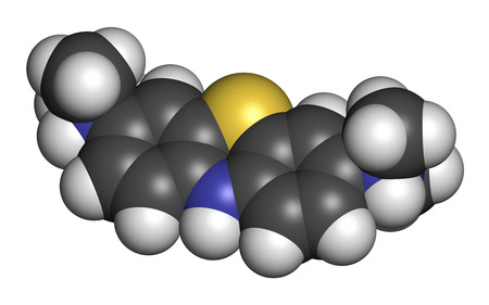Leuco-methylthioninium (LMTX) Alzheimers disease molecule (tau aggregation inhibitor). 3D rendering. Atoms are represented as spheres with conventional color coding: hydrogen (white), carbon (grey), nitrogen (blue), sulfur (yellow). Stock Photo
