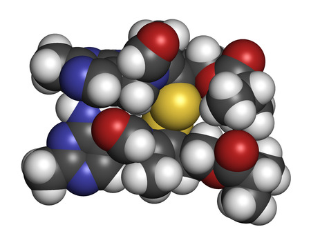 thiamine: Sulbutiamine asthenia drug molecule. Also used in nutritional supplements. 3D rendering. Atoms are represented as spheres with conventional color coding: hydrogen (white), carbon (grey), oxygen (red), nitrogen (blue), sulfur (yellow). Stock Photo