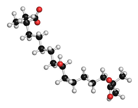 biosynthesis: Bempedoic acid hypercholesterolemia drug molecule (ATP-citrate lyase inhibitor). 3D rendering. Atoms are represented as spheres with conventional color coding: hydrogen (white), carbon (grey), oxygen (red).