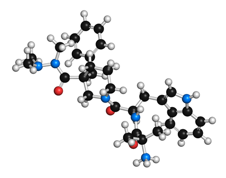 factor: Anamorelin cancer cachexia and anorexia drug molecule. 3D rendering. Atoms are represented as spheres with conventional color coding: hydrogen (white), carbon (grey), nitrogen (blue), oxygen (red). Stock Photo