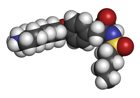 coagulation: Tirofiban anticoagulant drug molecule. 3D rendering. Atoms are represented as spheres with conventional color coding: hydrogen (white), carbon (grey), nitrogen (blue), oxygen (red), sulfur (yellow). Stock Photo