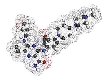 mutation: Gilteritinib cancer drug molecule (kinase inhibitor). 3D rendering. Atoms are represented as spheres with conventional color coding: hydrogen (white), carbon (grey), nitrogen (blue), oxygen (red).