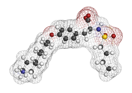 Tirofiban anticoagulant drug molecule. 3D rendering. Atoms are represented as spheres with conventional color coding: hydrogen (white), carbon (grey), nitrogen (blue), oxygen (red), sulfur (yellow). Stock Photo