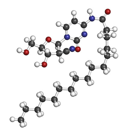 nucleoside: Sapacitabine cancer drug molecule (nucleoside analog). 3D rendering. Atoms are represented as spheres with conventional color coding: hydrogen (white), carbon (grey), nitrogen (blue), oxygen (red). Stock Photo