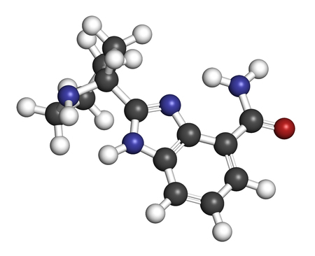 Veliparib cancer drug molecule (PARP inhibitor). 3D rendering. Atoms are represented as spheres with conventional color coding: hydrogen (white), carbon (grey), nitrogen (blue), oxygen (red).
