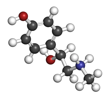 chemical peels: Synephrine herbal stimulant molecule. Present in several Citrus species. 3D rendering. Atoms are represented as spheres with conventional color coding: hydrogen (white), carbon (grey), oxygen (red), nitrogen (blue).