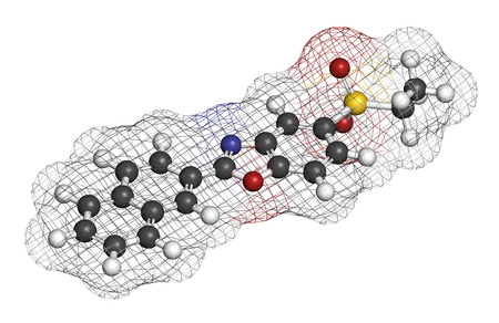 myopathy: Ezutromid Duchene muscular dystrophy drug molecule. Activator of utrophin. 3D rendering. Atoms are represented as spheres with conventional color coding: hydrogen (white), carbon (grey), nitrogen (blue), oxygen (red), sulfur (yellow).