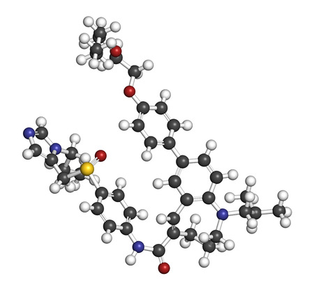 Cenicriviroc HIV drug molecule. 3D rendering. Atoms are represented as spheres with conventional color coding: hydrogen (white), carbon (grey), nitrogen (blue), oxygen (red), sulfur (yellow). Foto de archivo