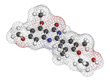 atherosclerosis: Apabetalone atherosclerosis drug molecule (BET inhibitor). 3D rendering. Atoms are represented as spheres with conventional color coding: hydrogen (white), carbon (grey), nitrogen (blue), oxygen (red). Stock Photo