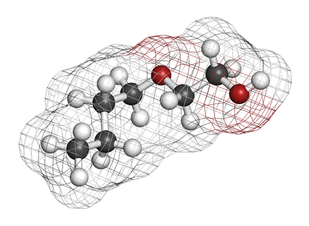 2-butoxyethanol molecule. Used as solvent and surfactant. 3D rendering. Atoms are represented as spheres with conventional color coding: hydrogen (white), carbon (grey), oxygen (red).