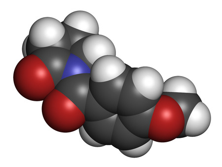 enhancer: Aniracetam nootropic drug molecule. 3D rendering. Atoms are represented as spheres with conventional color coding: hydrogen (white), carbon (grey), oxygen (red), nitrogen (blue). Stock Photo