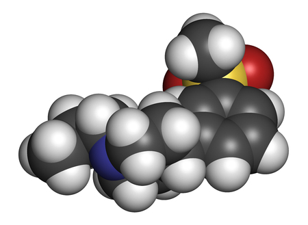 Pridopidine Huntingtons disease drug molecule. 3D rendering. Atoms are represented as spheres with conventional color coding: hydrogen (white), carbon (grey), nitrogen (blue), oxygen (red), sulfur (yellow).