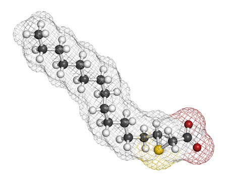 Tetradecylthioacetic acid (TTA) synthetic fatty acid molecule. 3D rendering. Atoms are represented as spheres with conventional color coding: hydrogen (white), carbon (grey), oxygen (red), sulfur (yellow).