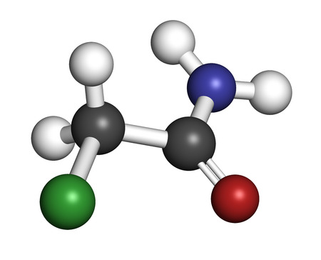 Chloroacetamide preservative molecule. 3D rendering. Atoms are represented as spheres with conventional color coding: hydrogen (white), carbon (grey), oxygen (red), nitrogen (blue), chlorine (green). Stock Photo