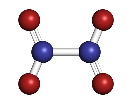 nitrogen: Nitrogen tetroxide (dinitrogen tetroxide, N2O4) rocket propellant molecule. 3D rendering. Atoms are represented as spheres with conventional color coding: nitrogen (blue), oxygen (red).