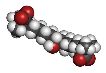 lowering: Bempedoic acid hypercholesterolemia drug molecule (ATP-citrate lyase inhibitor). 3D rendering. Atoms are represented as spheres with conventional color coding: hydrogen (white), carbon (grey), oxygen (red).