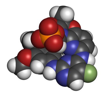 white phosphorus: Fostamatinib rheumatoid arthritis drug molecule (Syk inhibitor). 3D rendering. Atoms are represented as spheres with conventional color coding: hydrogen (white), carbon (grey), nitrogen (blue), oxygen (red), fluorine (light green), phosphorus (orange).