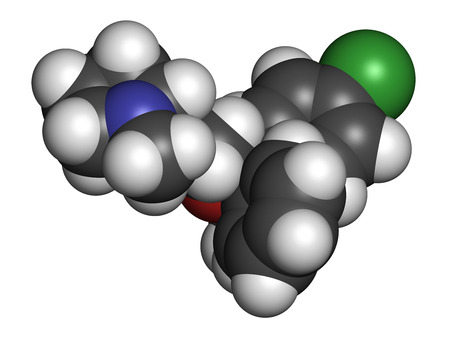 Clemastine (meclastine) antihistamine drug molecule. Used to treat allergy and itching. 3D rendering. Atoms are represented as spheres with conventional color coding: hydrogen (white), carbon (grey), nitrogen (blue), oxygen (red), chlorine (green). Stock Photo