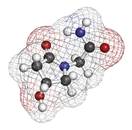 Oxiracetam nootropic drug molecule. 3D rendering. Atoms are represented as spheres with conventional color coding: hydrogen (white), carbon (grey), oxygen (red), nitrogen (blue).