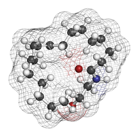Oleoylethanolamide (OEA) endogenous peroxisome proliferator-activated receptor alpha (PPAR-?) agonist molecule. 3D rendering. Atoms are represented as spheres with conventional color coding: hydrogen (white), carbon (grey), oxygen (red), nitrogen (blue). Stock Photo