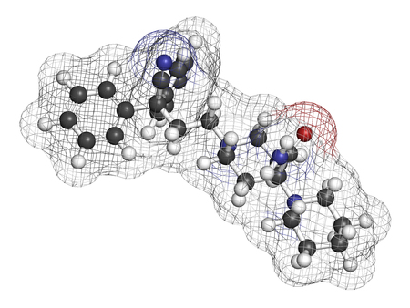 nitrogen: Piritramide opioid analgetic drug molecule. 3D rendering. Atoms are represented as spheres with conventional color coding: hydrogen (white), carbon (grey), nitrogen (blue), oxygen (red).