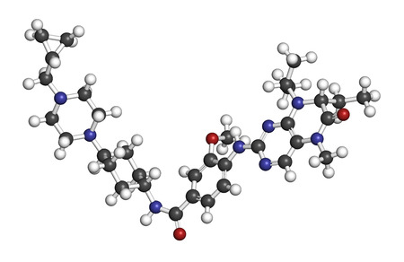 aml: Volasertib cancer drug molecule (PLK1 inhibitor). 3D rendering. Atoms are represented as spheres with conventional color coding: hydrogen (white), carbon (grey), nitrogen (blue), oxygen (red).