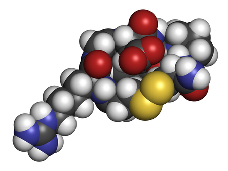 Eptifibatide anticoagulant drug molecule. 3D rendering. Atoms are represented as spheres with conventional color coding: hydrogen (white), carbon (grey), nitrogen (blue), oxygen (red), sulfur (yellow).