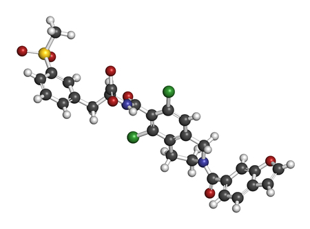 antigen: Lifitegrast drug molecule. Used in the treatment of keratoconjunctivitis sicca. 3D rendering. Atoms are represented as spheres with conventional color coding: hydrogen (white), carbon (grey), nitrogen (blue), oxygen (red), sulfur (yellow), chlorine (green Stock Photo