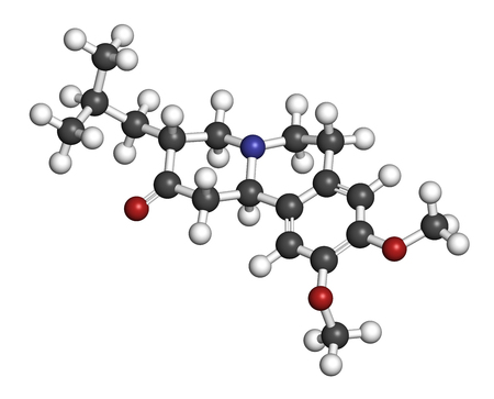 Tetrabenazine hyperkinetic disorder drug molecule. 3D rendering. Atoms are represented as spheres with conventional color coding: hydrogen (white), carbon (grey), nitrogen (blue), oxygen (red).