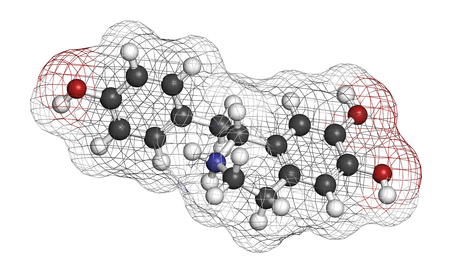 Higenamine herbal molecule. Present in some fat burner food supplements. 3D rendering. Atoms are represented as spheres with conventional color coding: hydrogen (white), carbon (grey), oxygen (red), nitrogen (blue). Standard-Bild