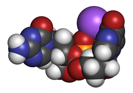 phosphorus: Guadecitabine cancer drug molecule (DNA methyltransferase inhibitor). 3D rendering. Atoms are represented as spheres with conventional color coding: hydrogen (white), carbon (grey), nitrogen (blue), oxygen (red), phosphorus (orange). Stock Photo