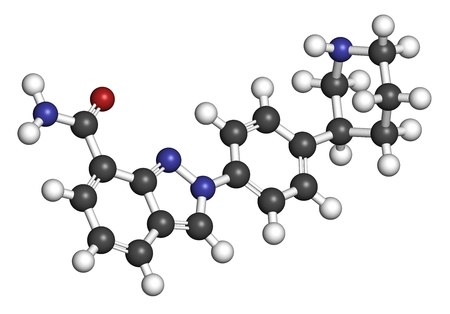 inhibitor: Niraparib cancer drug molecule (PARP inhibitor). 3D rendering. Atoms are represented as spheres with conventional color coding: hydrogen (white), carbon (grey), nitrogen (blue), oxygen (red).