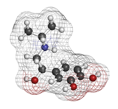 Isoprenaline (isoproterenol) drug molecule. Used in treatment of bradycardia, heart block and asthma. 3D rendering. Atoms are represented as spheres with conventional color coding: hydrogen (white), carbon (grey), nitrogen (blue), oxygen (red).
