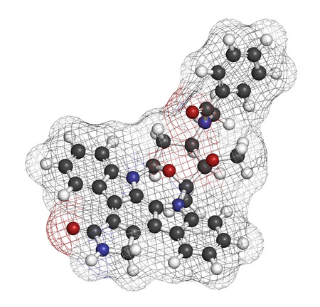 inhibitor: Midostaurin cancer drug molecule (protein kinase inhibitor). 3D rendering. Atoms are represented as spheres with conventional color coding: hydrogen (white), carbon (grey), nitrogen (blue), oxygen (red).