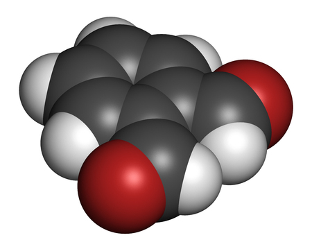 disinfectant: Phthalaldehyde (ortho-phthalaldehyde, OPA) disinfectant molecule.  3D rendering. Atoms are represented as spheres with conventional color coding: hydrogen (white), carbon (grey), oxygen (red).