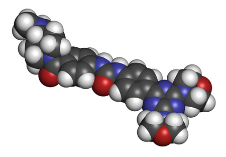 Gedatolisib cancer drug molecule. 3D rendering. Atoms are represented as spheres with conventional color coding: hydrogen (white), carbon (grey), nitrogen (blue), oxygen (red).