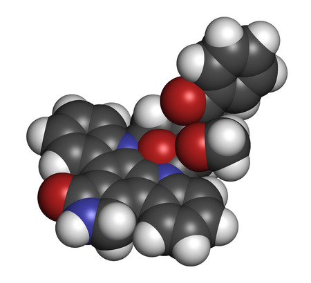 acute: Midostaurin cancer drug molecule (protein kinase inhibitor). 3D rendering. Atoms are represented as spheres with conventional color coding: hydrogen (white), carbon (grey), nitrogen (blue), oxygen (red).