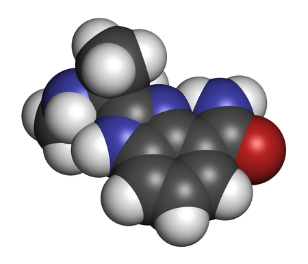 inhibitor: Veliparib cancer drug molecule (PARP inhibitor). 3D rendering. Atoms are represented as spheres with conventional color coding: hydrogen (white), carbon (grey), nitrogen (blue), oxygen (red).