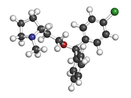 histamine: Clemastine (meclastine) antihistamine drug molecule. Used to treat allergy and itching. 3D rendering. Atoms are represented as spheres with conventional color coding: hydrogen (white), carbon (grey), nitrogen (blue), oxygen (red), chlorine (green). Stock Photo