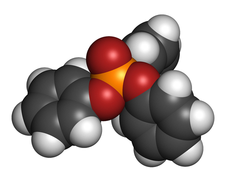 Triphenyl phosphate molecule. Used as flame retardant and plasticizer. 3D rendering. Atoms are represented as spheres with conventional color coding: hydrogen (white), carbon (grey), oxygen (red), phosphorus (orange). Stock Photo