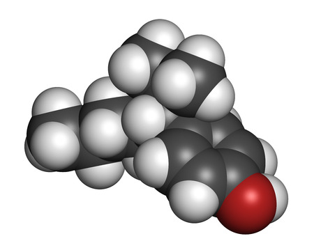 Nonylphenol endocrine disruptor molecule (one isomer shown). 3D rendering. Atoms are represented as spheres with conventional color coding: hydrogen (white), carbon (grey), oxygen (red). Stock Photo