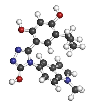 aml: Ganetespib cancer drug molecule (HSP90 inhibitor). 3D rendering. Atoms are represented as spheres with conventional color coding: hydrogen (white), carbon (grey), nitrogen (blue), oxygen (red).