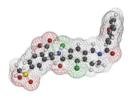 pharma: Lifitegrast drug molecule. Used in the treatment of keratoconjunctivitis sicca. 3D rendering. Atoms are represented as spheres with conventional color coding: hydrogen (white), carbon (grey), nitrogen (blue), oxygen (red), sulfur (yellow), chlorine (green Stock Photo