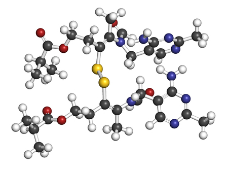 Sulbutiamine asthenia drug molecule. Also used in nutritional supplements. 3D rendering. Atoms are represented as spheres with conventional color coding: hydrogen (white), carbon (grey), oxygen (red), nitrogen (blue), sulfur (yellow). Stock Photo