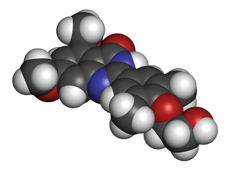 Apabetalone atherosclerosis drug molecule (BET inhibitor). 3D rendering. Atoms are represented as spheres with conventional color coding: hydrogen (white), carbon (grey), nitrogen (blue), oxygen (red). Stock Photo