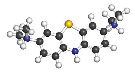 ロイコ-methylthioninium (LMTX) アルツハイマー病の分子 (タウ凝集阻害剤)。3 D レンダリング。原子は従来色の球体として表されます: 水素 (白)、炭素 (灰